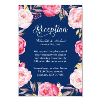 Wedding Reception Pink Floral Wreath Navy Blue Card