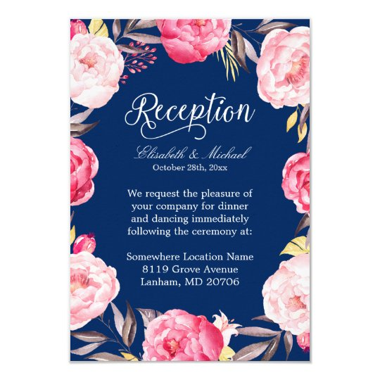 wedding reception pink floral wreath navy blue card - Navy And Blush Wedding Invitations