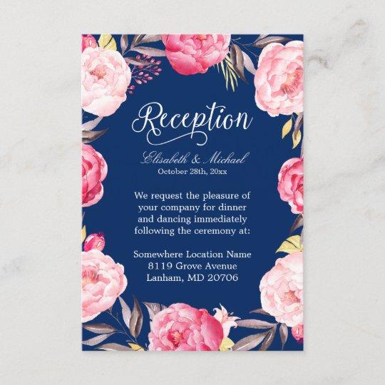 Wedding Reception Pink Floral Wreath Navy Blue Enclosure Card