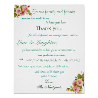 Wedding Reception Poster, Thank You Sign