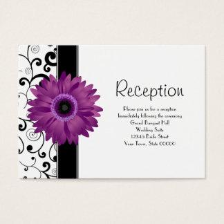 Wedding Reception Purple Gerbera Daisy w/ Scroll Business Card
