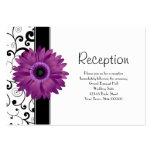 Wedding Reception Purple Gerbera Daisy w/ Scroll Large Business Card