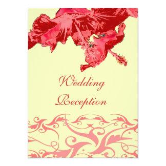 Wedding Reception red exotic hibiscus brocade Personalized Invites