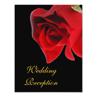Wedding Reception red rose on black Card