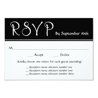 Wedding Reception RSVP 3 Menu Choices Response Card