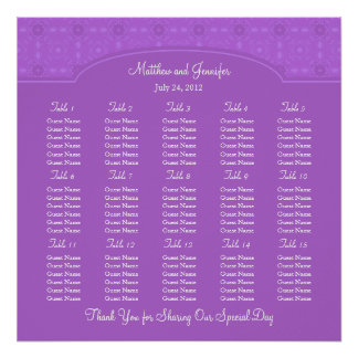 Wedding Reception Seating Chart - Square Poster