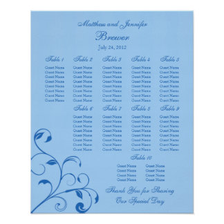 Wedding Reception Seating Chart - Standard Sizes