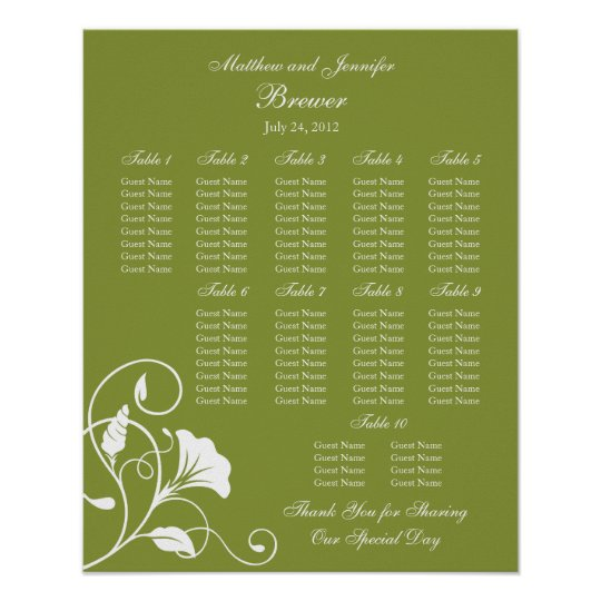 Wedding Reception Seating Chart Standard Sizes Zazzle
