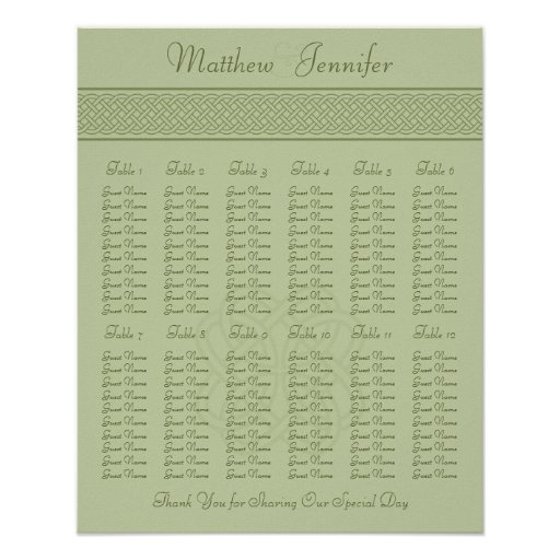 Wedding Reception Seating Chart - Standard Sizes Poster ...