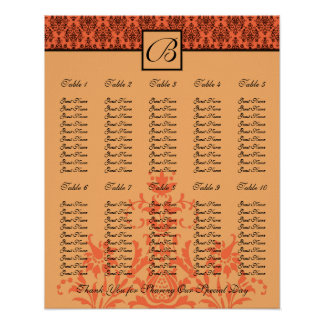Wedding Reception Seating Chart - Standard Sizes Print