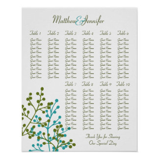 Wedding Reception Seating Chart - Standard Sizes Posters