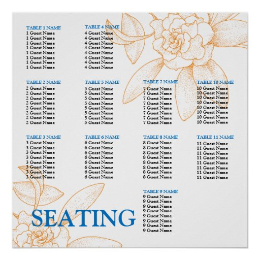 Wedding Reception Seating Chart Template Posters