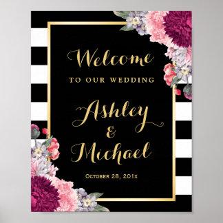 Wedding Reception Sign Burgundy Floral Stripes