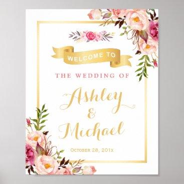 CardHunter Wedding Reception Sign Elegant Chic Floral Gold Poster