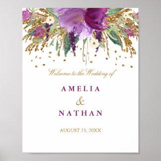 Wedding Reception Sign Floral Glitter Amethyst