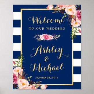 Wedding Reception Sign Floral Navy Blue Stripes