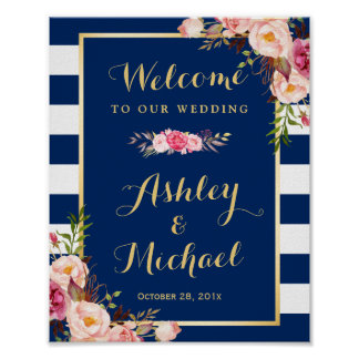Wedding Reception Sign Floral Navy Blue Stripes