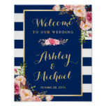Wedding Reception Sign Floral Navy Blue Stripes Poster