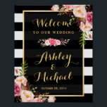 "Wedding Reception Sign Gold Vintage Floral Stripes<br><div class=""desc"">================= ABOUT THIS DESIGN ================= Wedding Reception Sign Vintage Floral Gold Frame with Black White Stripes Poster Template - A Perfect Design for you. (1) The default size is 8 x 10 inches, you can change it to any size. (2) You are able to Change the Black Stripes to ANY...</div>"