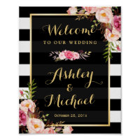 Wedding Reception Sign Gold Vintage Floral Stripes
