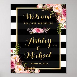 Wedding Reception Sign Gold Vintage Floral Stripes