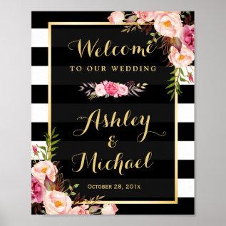 Wedding Reception Sign Gold Vintage Floral Stripes Poster at Zazzle