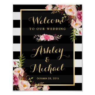 Wedding Reception Sign Gold Vintage Floral Stripes Poster