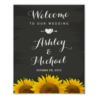 Wedding Reception Sign Heart Sunflowers Chalkboard