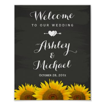 Valentines Themed Wedding Reception Sign Heart Sunflowers Chalkboard