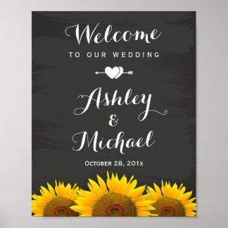 Wedding Reception Sign Heart Sunflowers Chalkboard Poster