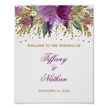 Wedding Themed Wedding Reception Sign Purple Glitter Amethyst