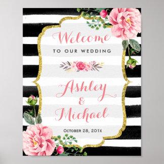 Wedding Reception Sign Stripes Floral Gold Glitter