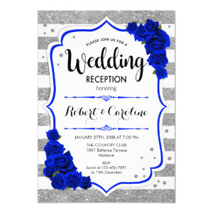 Royal Blue & Silver Wedding Invitation, Winter