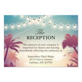 Wedding Reception Summer String Lights Palm Tree Card
