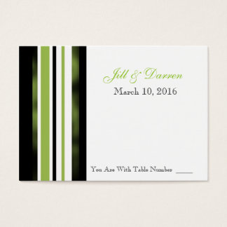 Wedding Reception Table Number Card Green Stripes