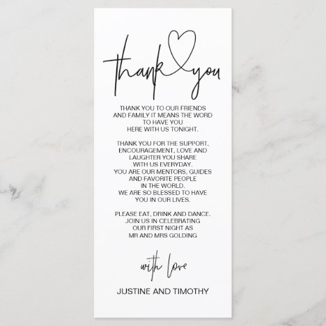 Wedding Reception Table Thank You Place Setting Menu