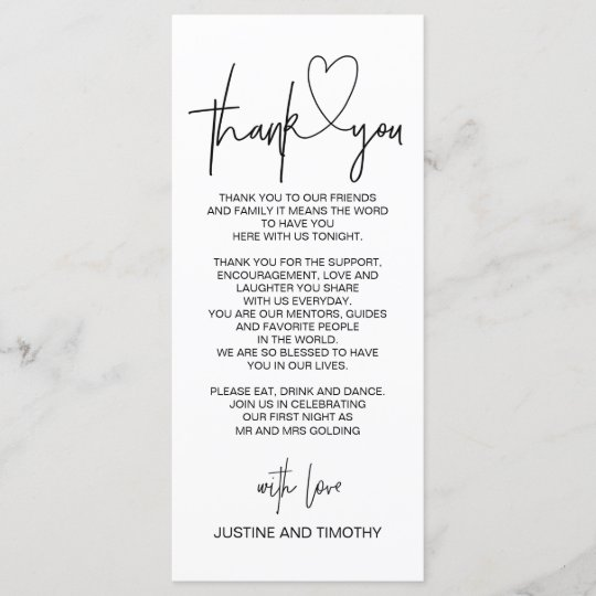 Wedding Gift Thank You Cards: Wedding Reception Table Thank You Place Setting Menu