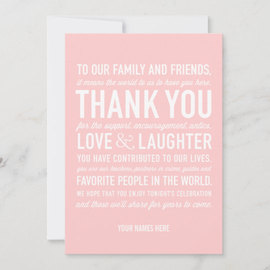 Wedding Reception Thank You Message Card In Pink Zazzle