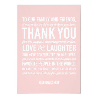 Wedding Reception Thank You Message Card in Pink