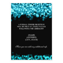 Wedding Reception Turquoise Lights 4.5x6.25 Paper Invitation Card