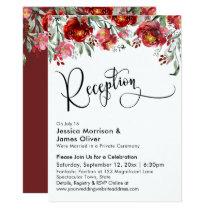 Wedding Reception Typography Burgundy Red Flowers Invitation
