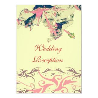 Wedding Reception vintage hibiscus brocade invite