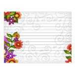 Wedding Recipe Card Bright Flowers Post Card