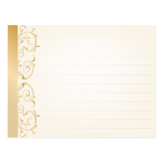 Wedding Recipe Card Gold and Silver