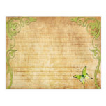 Wedding Recipe Card Vintage Green Butterfly Post Cards