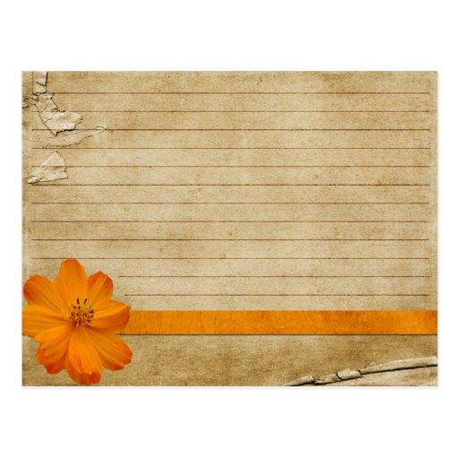 Wedding Recipe Card Vintage Orange Flower Post Card