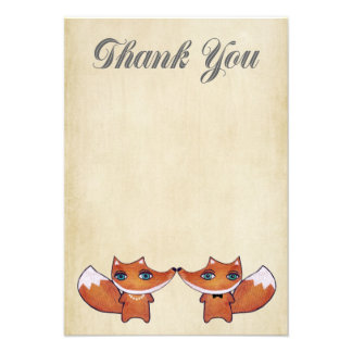 Wedding Red Fox Couple Thank You Note Cards