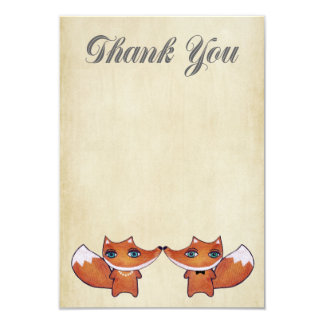 Wedding Red Fox Couple Thank You Note Cards Custom Invitations