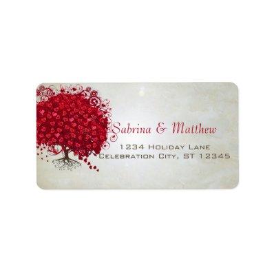 Wedding Red Heart Leaf Tree Return Address Label