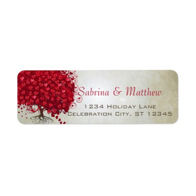 Wedding Red Heart Leaf Tree Return Return Address Label